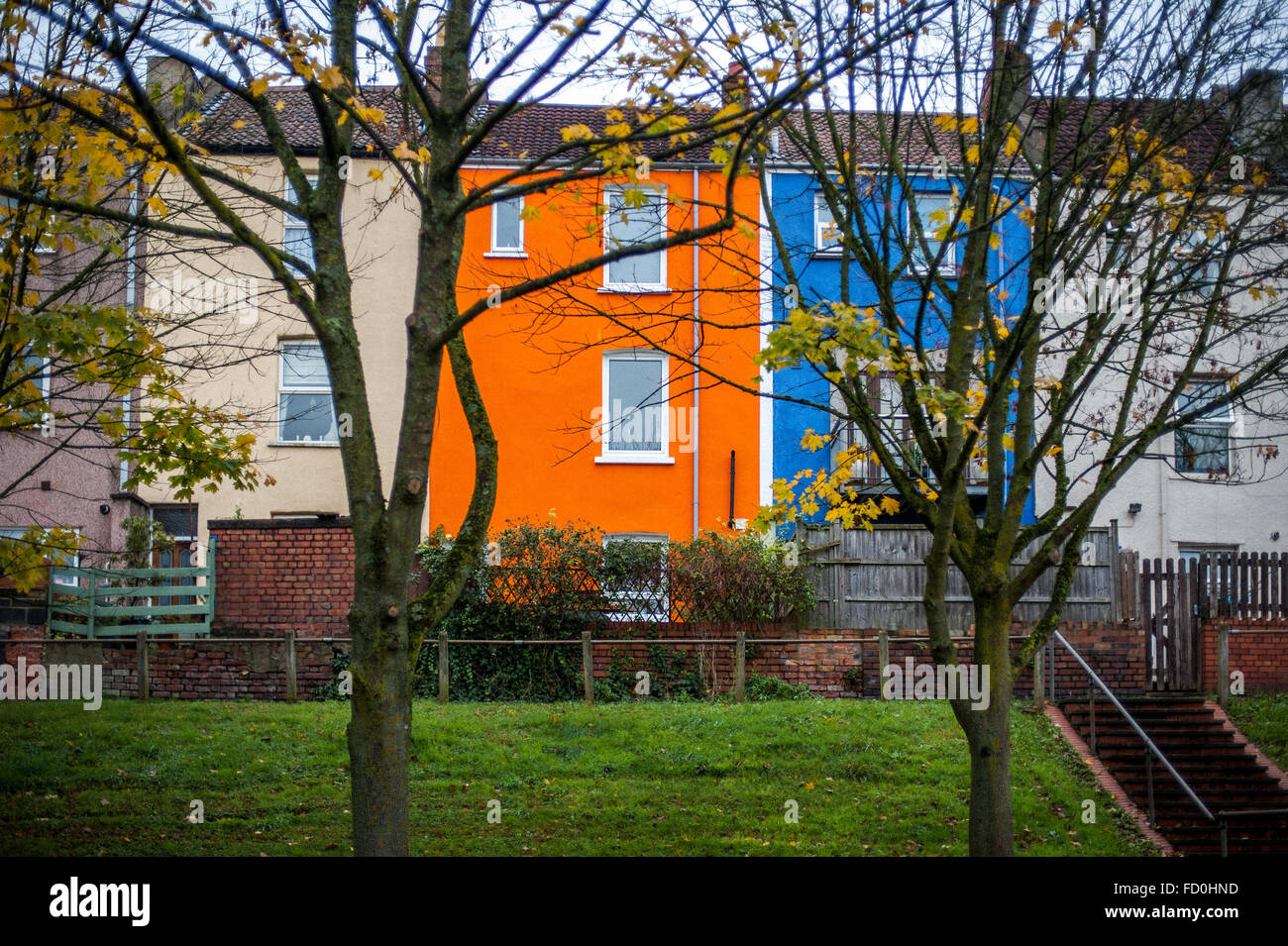 Colourful tall terraced houses in Totterdown, Bristol, England - Stock Image