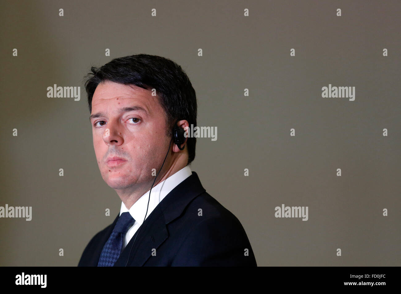 Rome, Italy. 25th January, 2016. Matteo Renzi  Rome 25th January 2016 Campidoglio. Italian Premier meets the President - Stock Image