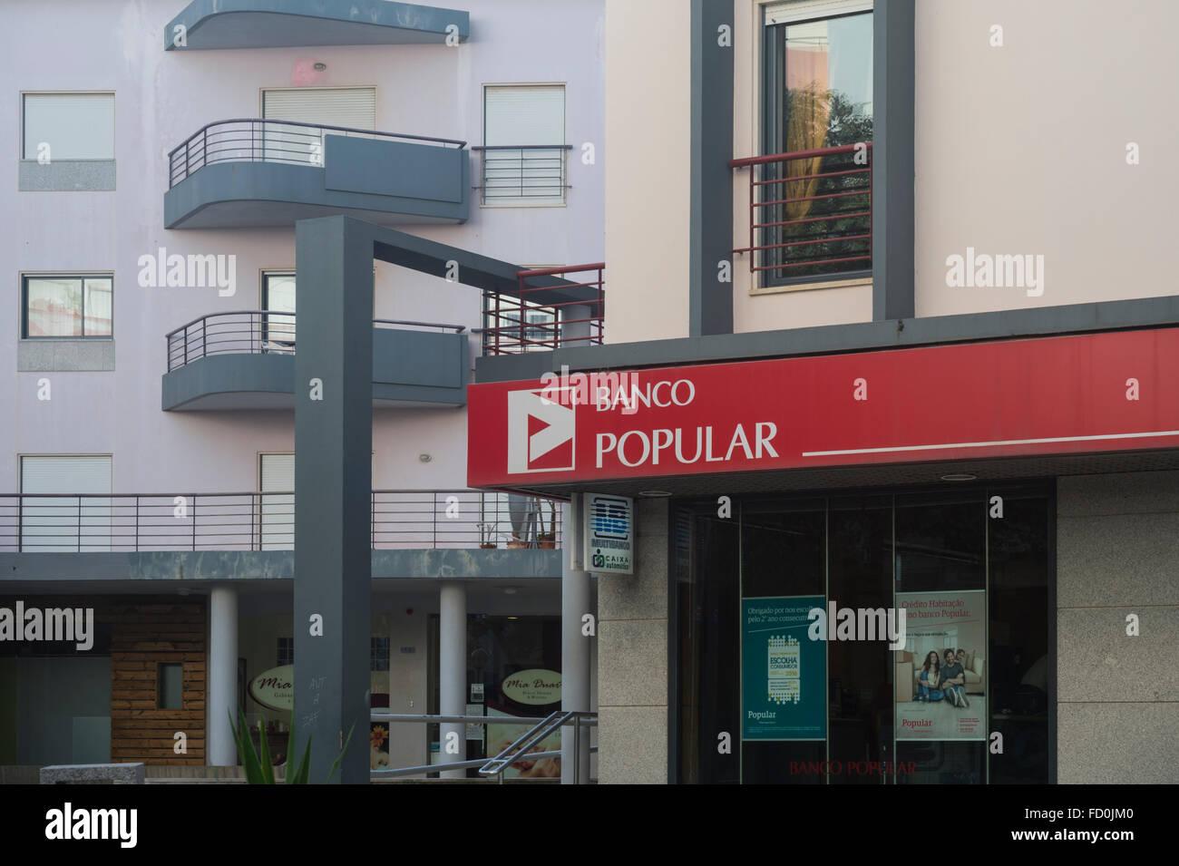 Branch of Banco Popular in Portugal, EU. - Stock Image