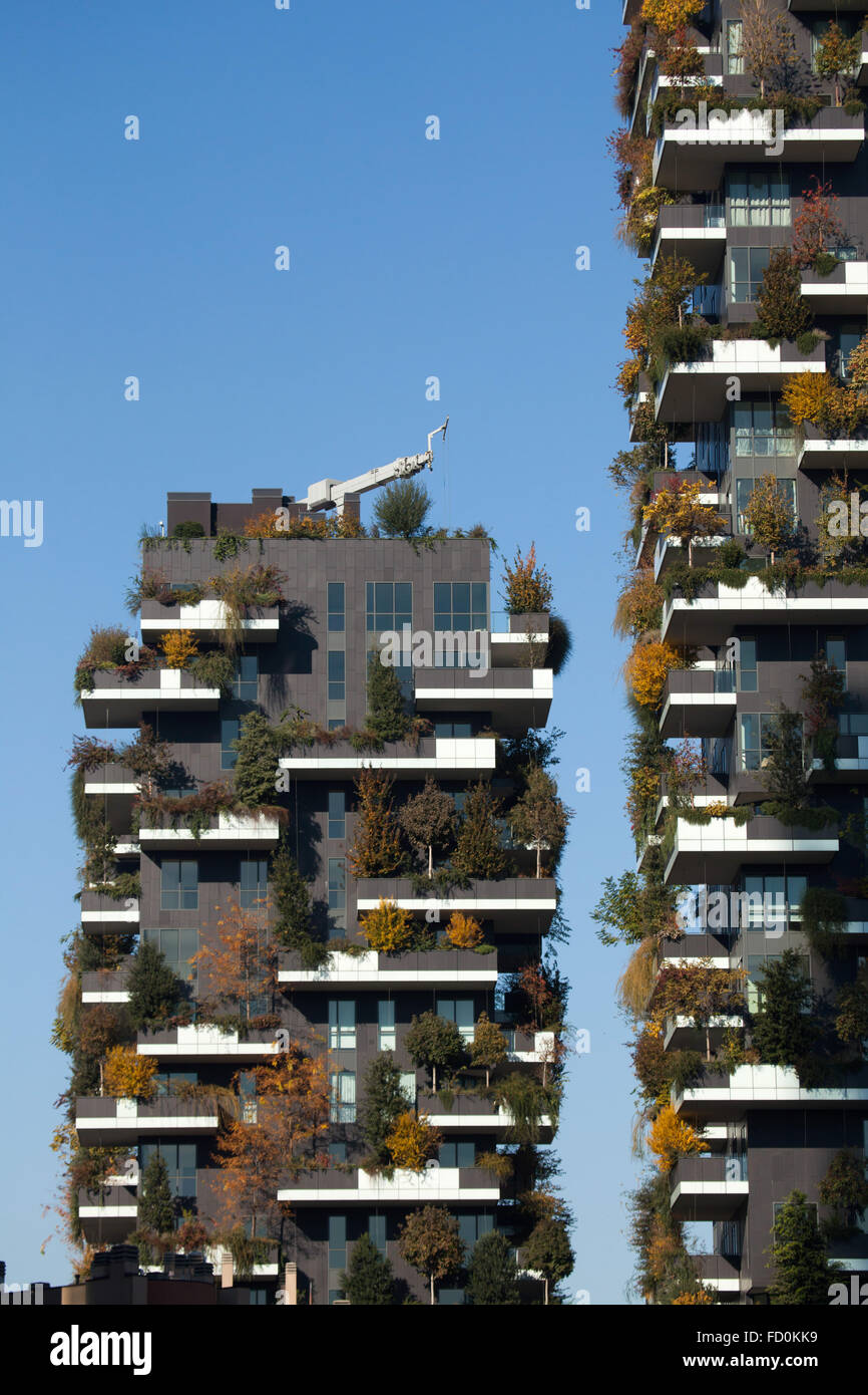 Bosco Verticale (Vertical Forest) residential towers in the Porta Nuova district in Milan, Lombardy, Italy. - Stock Image