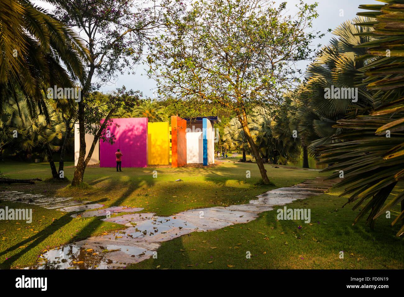 Hélio Oiticica installation, Inhotim botanical Garden and Contemporary art museum, Belo Horizonte, Minas Gerais, - Stock Image