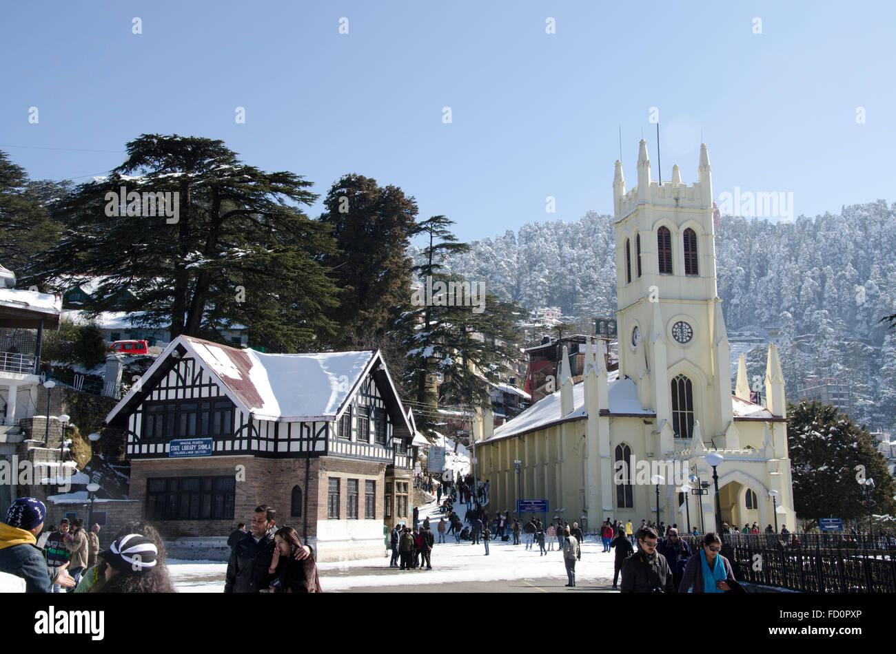 Christ Church at the Ridge in winter, Shimla, Himachal Pradesh, India - Stock Image