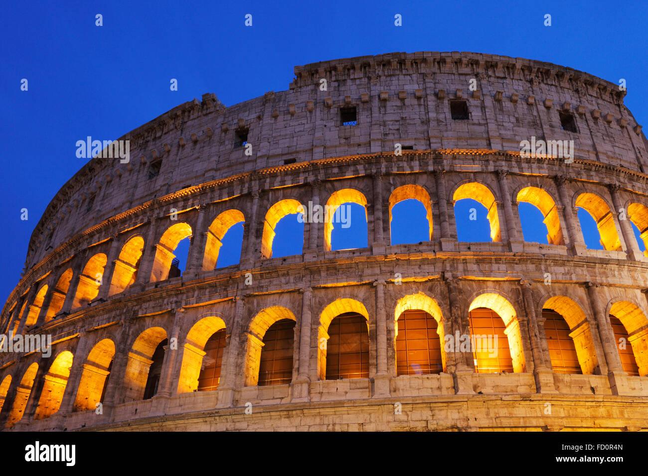 The Colosseum or Coliseum or Flavian Amphitheatre in Rome, Italy;  (Latin: Amphitheatrum Flavium); Anfiteatro Flavio or Colosseo Stock Photo