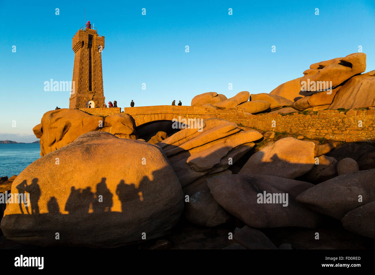France,Brittany,Cotes d'Armor, the Men Ruz  lighthouse  at Ploumanach, commune of Perros Guirec - Stock Image