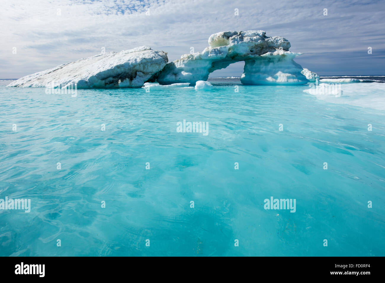 Canada, Nunavut Territory, Repulse Bay, Melting icebergs in Harbour Islands in Hudson Bay just south of arctic circle - Stock Image