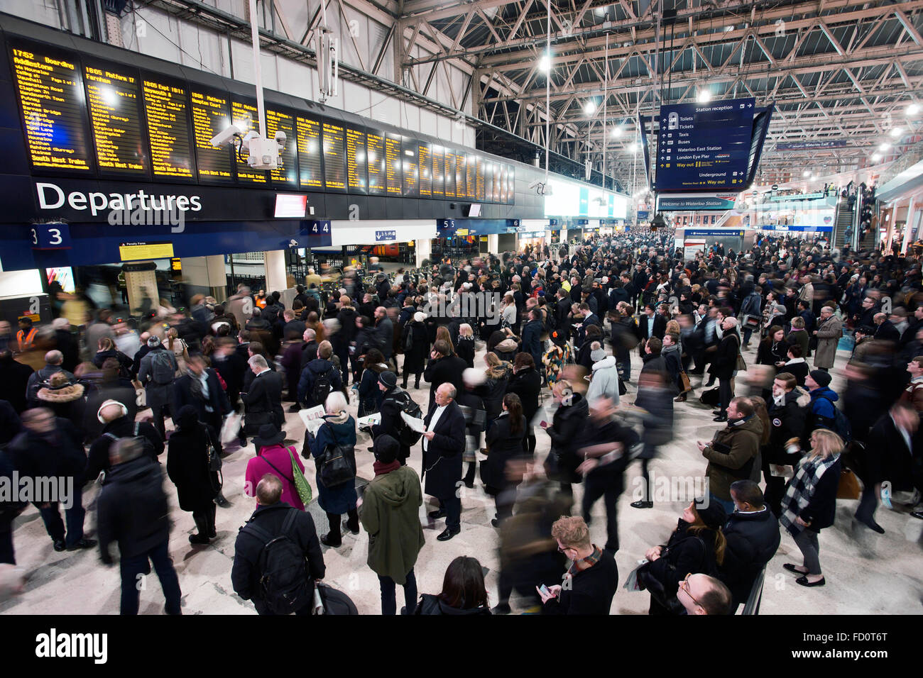 London, UK - January 20, 2016: Inside view of Waterloo Station, since 1848, central London railway terminus, busiest - Stock Image