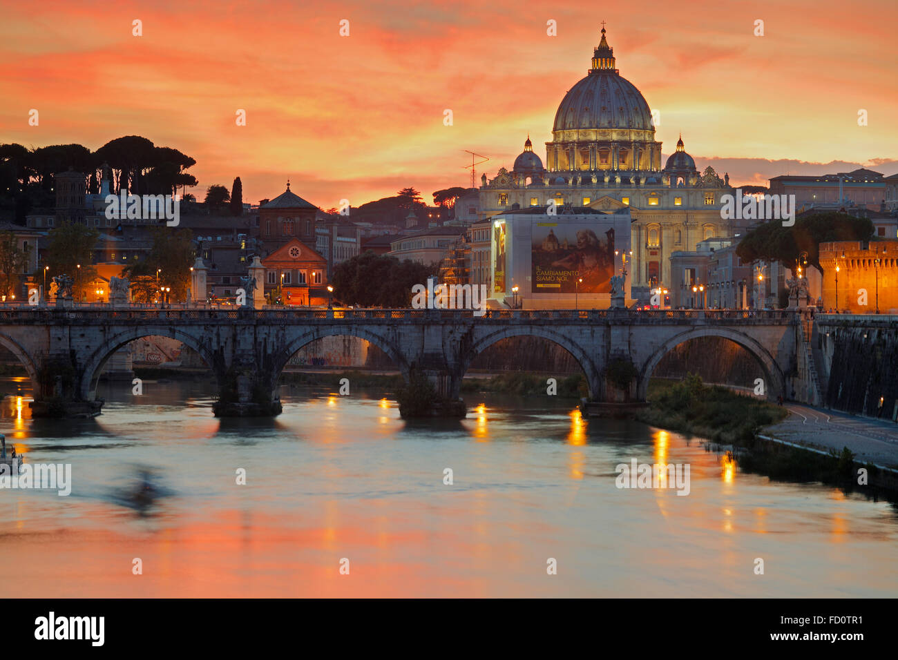 Tiber with Sant'Angelo bridge and the St. Peter's Basilica in Rome, Italy; the St. Peter's Basilica in Rome, Italy; Stock Photo