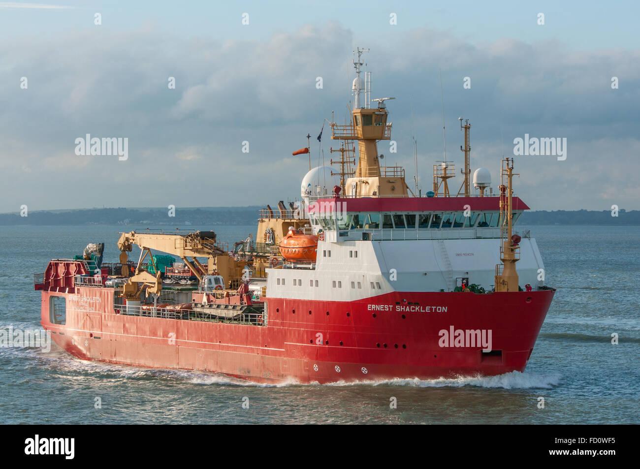 The British Antarctic Survey research ship RRS Ernest Shackleton arriving at Portsmouth, UK on the 5th November - Stock Image