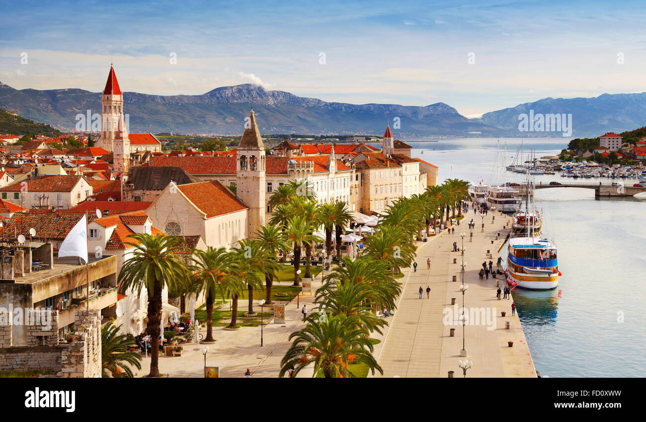 Trogir, elevated view to Old Town, Croatia - Stock Image