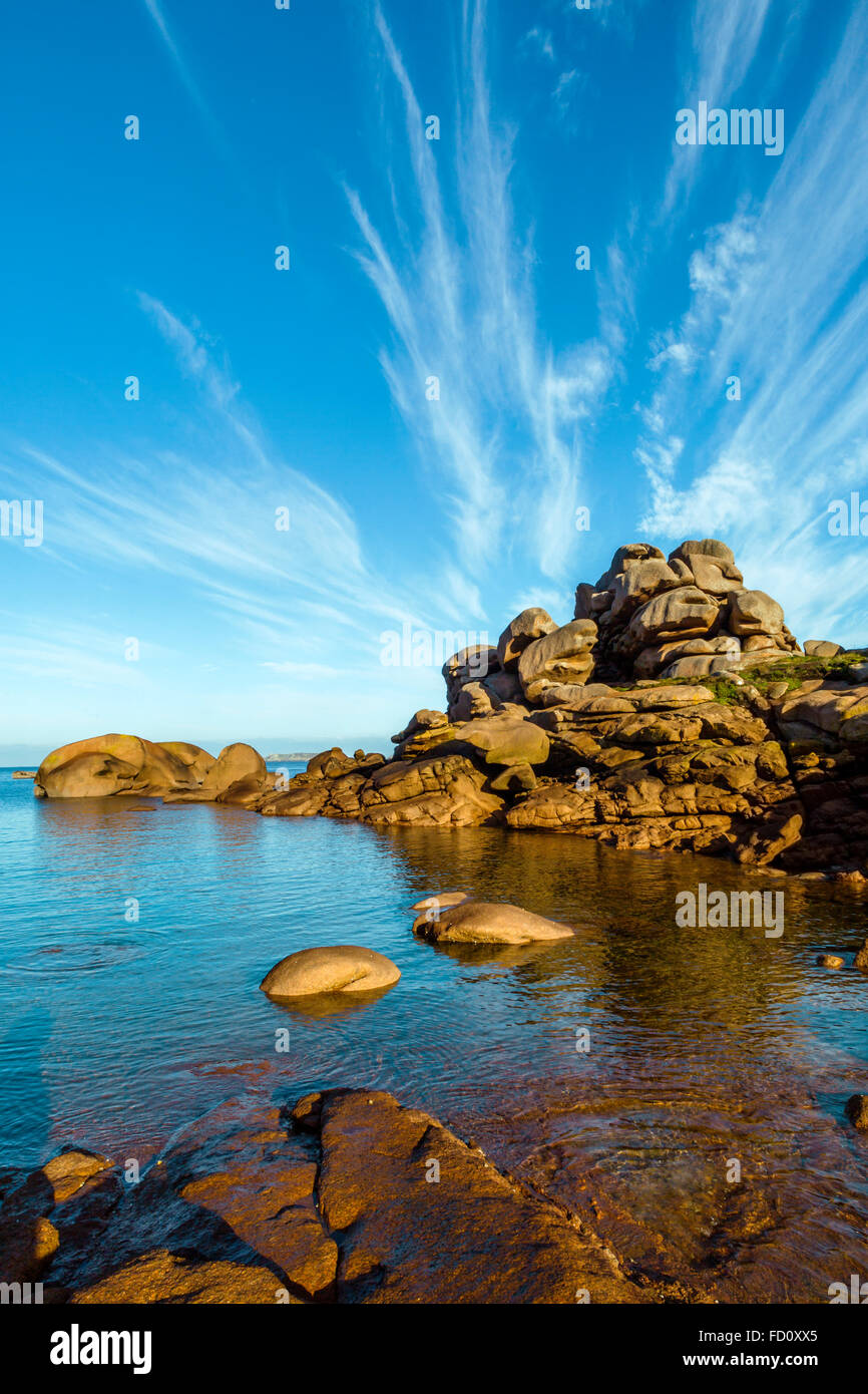 France,Brittany,Cotes d'Armor, the Pink granit coastline  at Ploumanach, commune of Perros Guirec - Stock Image
