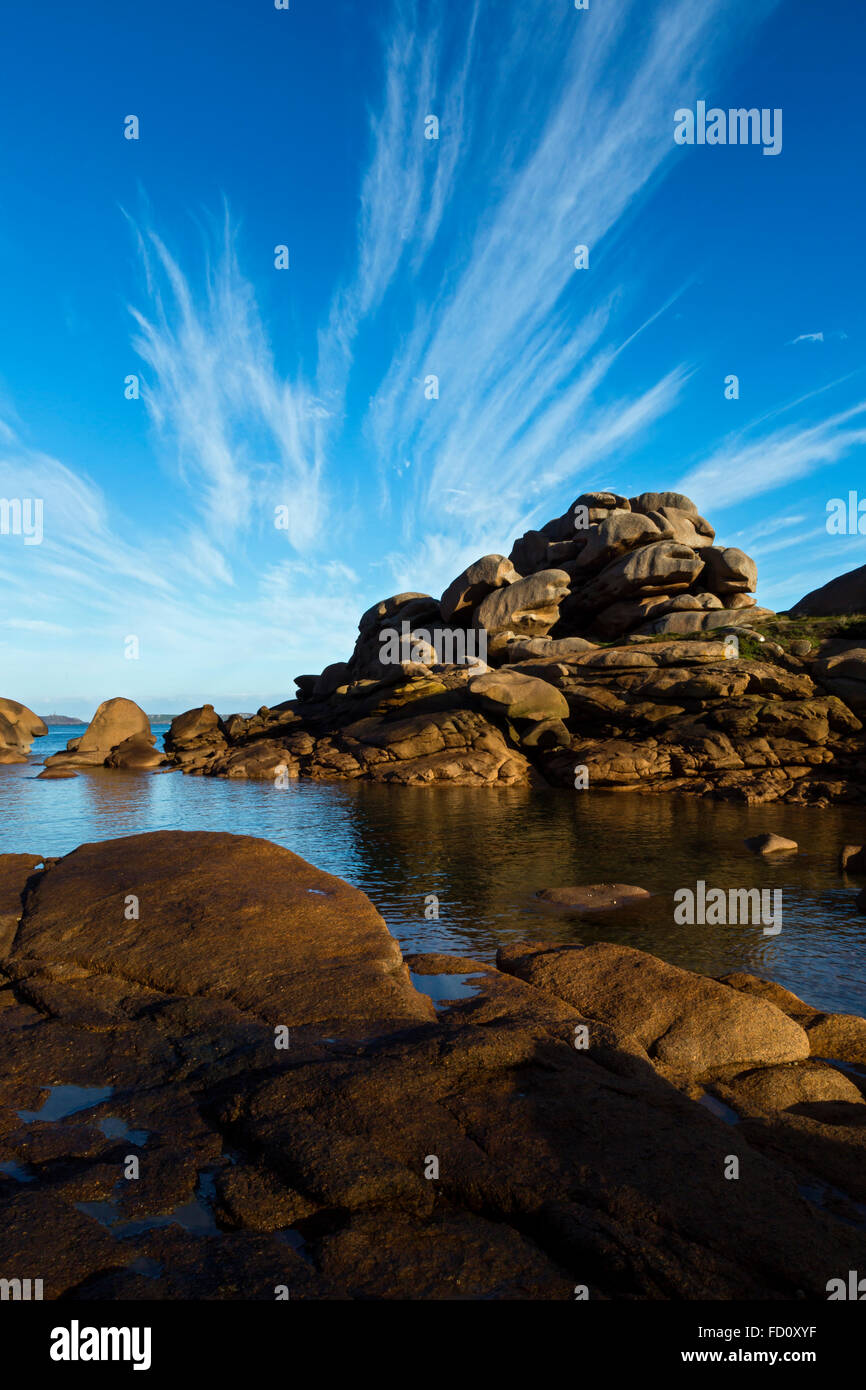 France,Brittany,Cotes d'Armor, the Pink granit coastline  at Ploumanach, commune of Perros Guirec Stock Photo