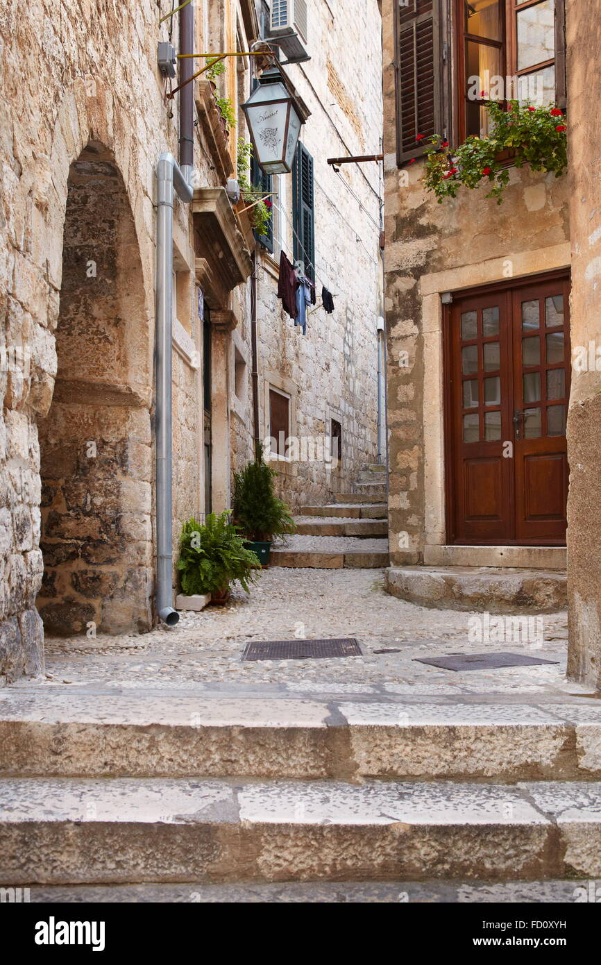 Dubrovnik, Old Town, alley of the old city, Croatia - Stock Image