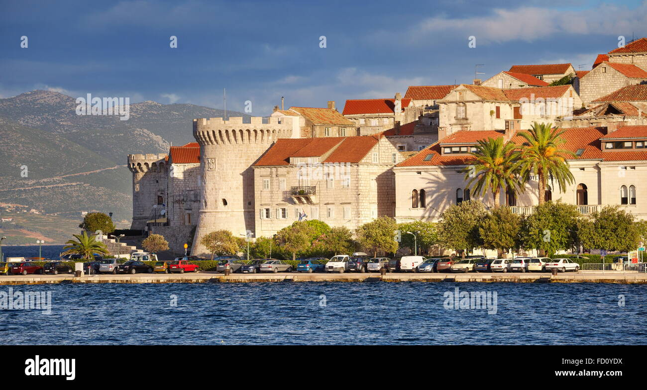 Korcula, Old Town at the seafront, Croatia - Stock Image