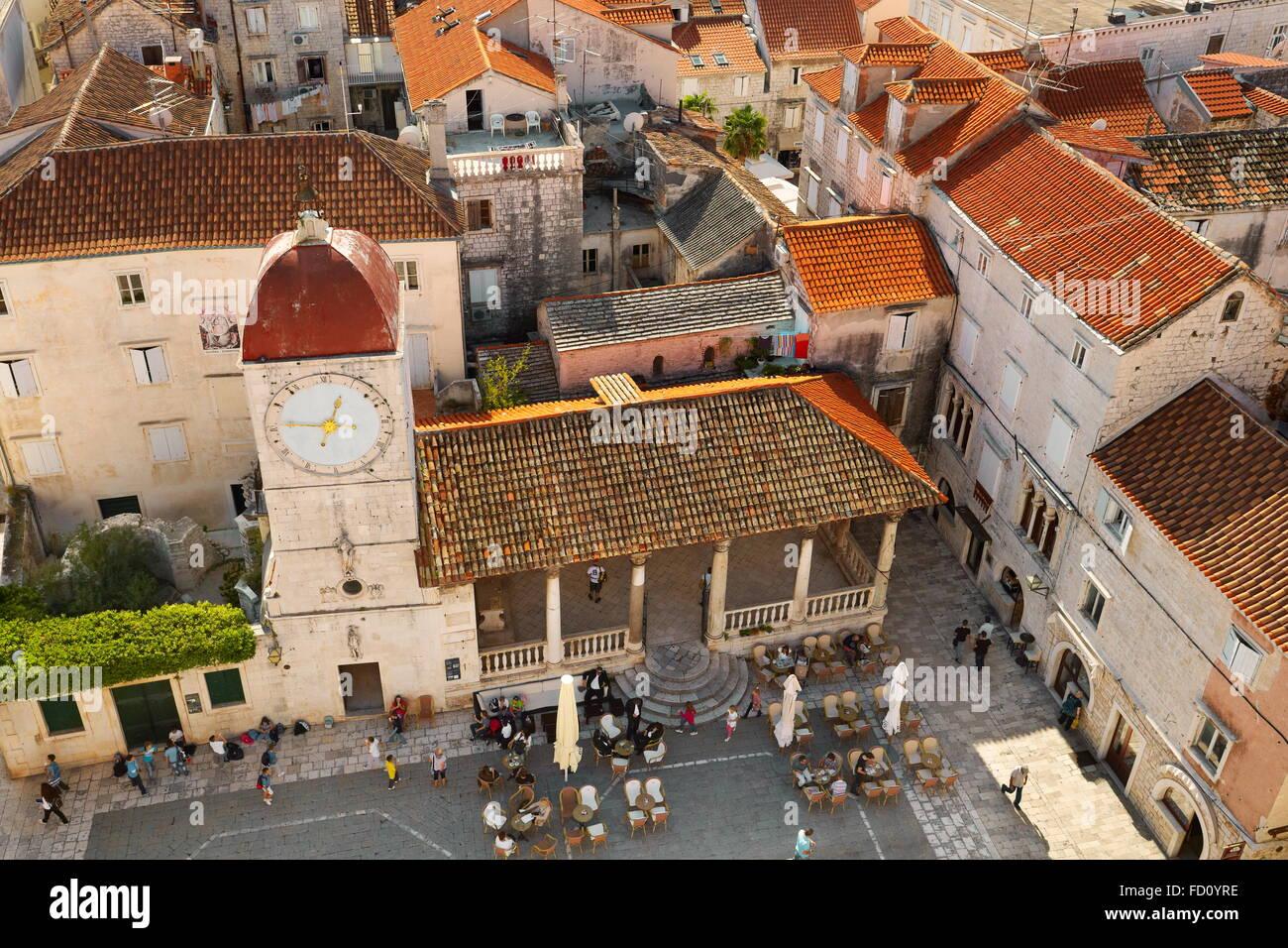 Trogir Croatia, Old Town square in Trogir - Stock Image