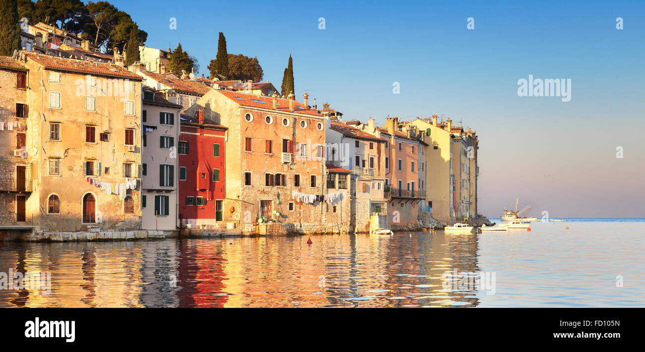 Rovinj, Istria, Croatia, Old Town city view at sunrise time - Stock Image