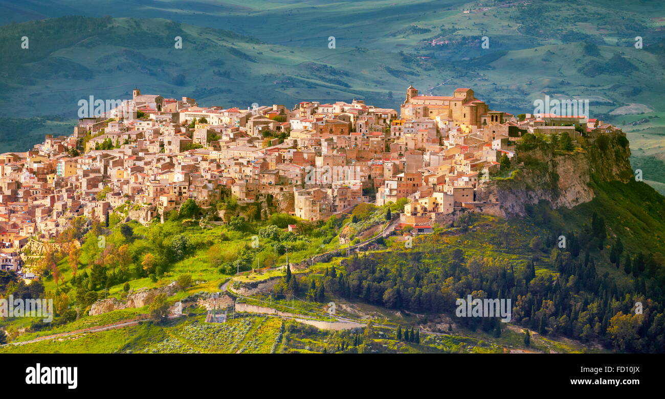 Sicily Island - aerial view from Enna to Calascibetta, Italy - Stock Image