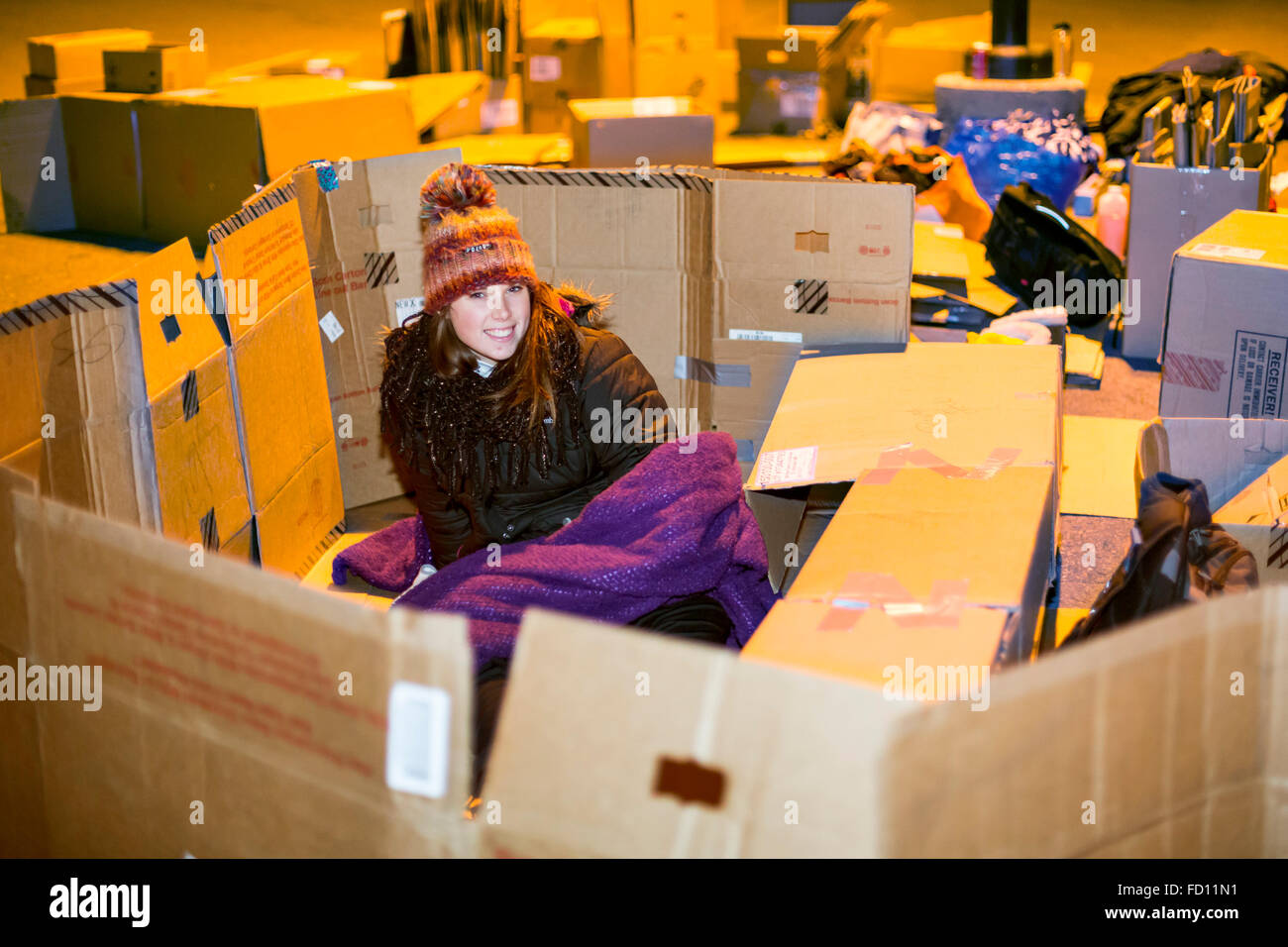 Oakland University students spent a night sleeping in cardboard boxes to draw attention to homelessness. - Stock Image