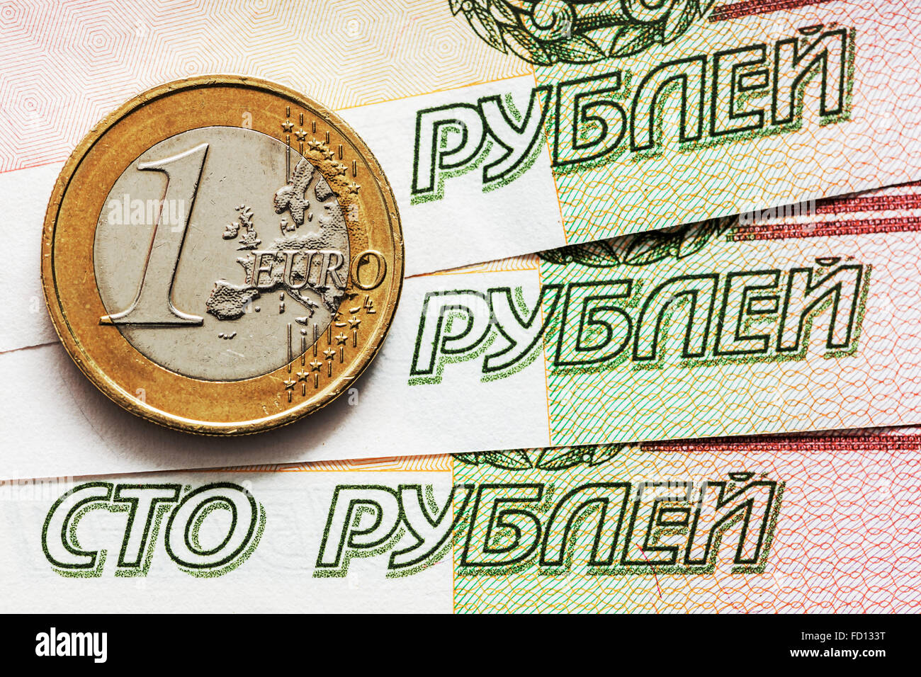 Expected exchange rate of the ruble to the euro. - Stock Image