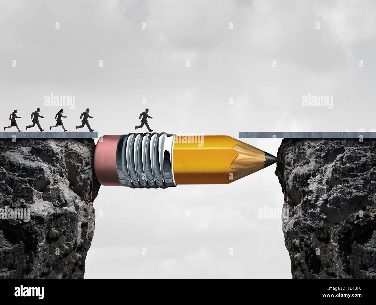 Business success symbol and conquering adversity as a group of people running from one cliff to another with the - Stock Image