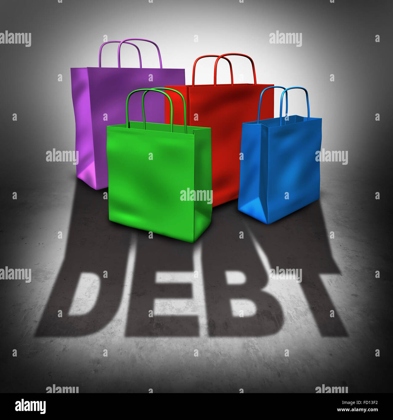 Shopping debt and credit card spending crisis as a group of retail bags casting a shadow with text as a financial - Stock Image