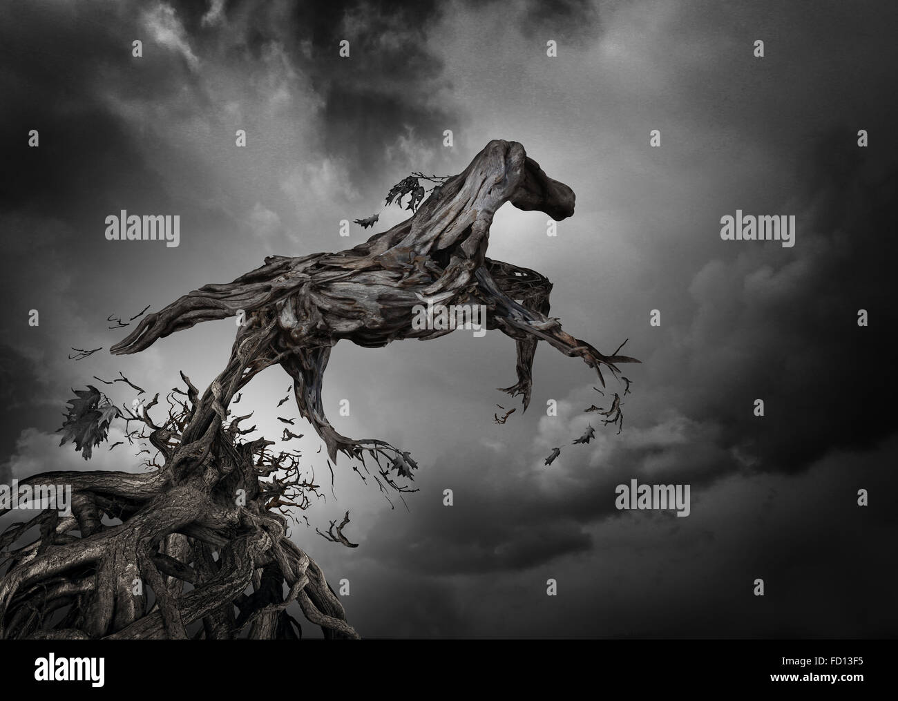 Success and potential symbol as a surreal tree horse with roots of trees shaped as a pure breed stallion breaking - Stock Image
