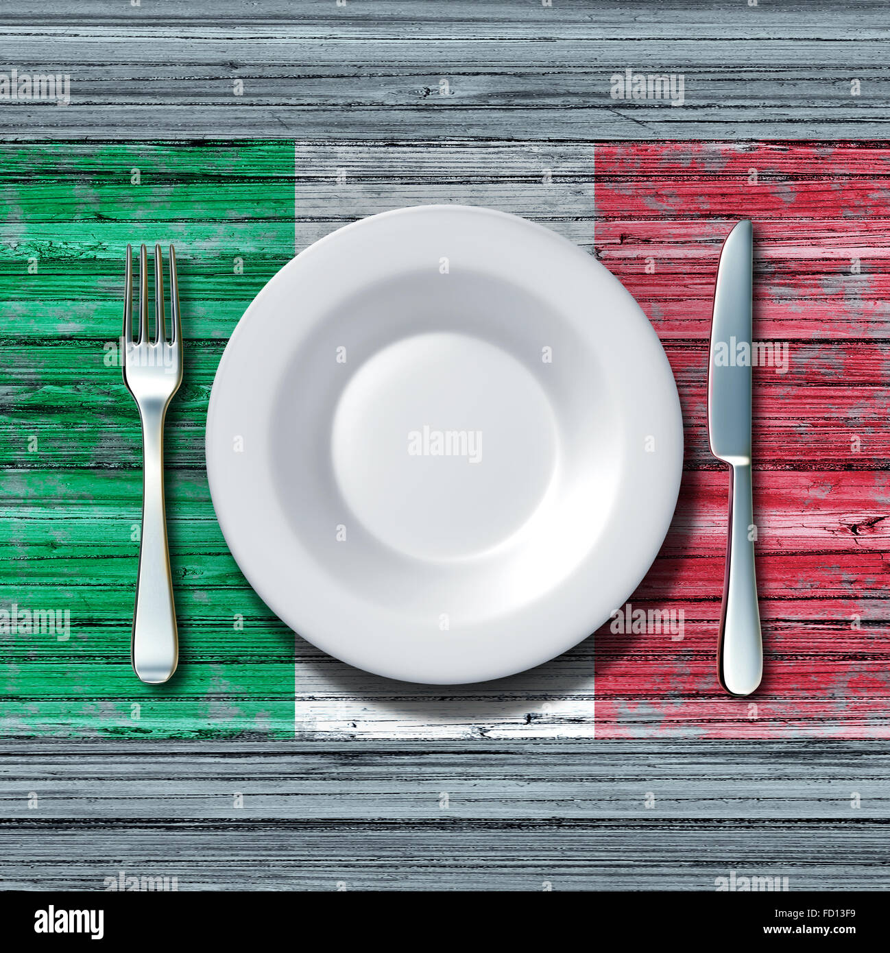 Italian cuisine food concept as a place setting with knife and fork on an old rustic wood table with a symbol of - Stock Image