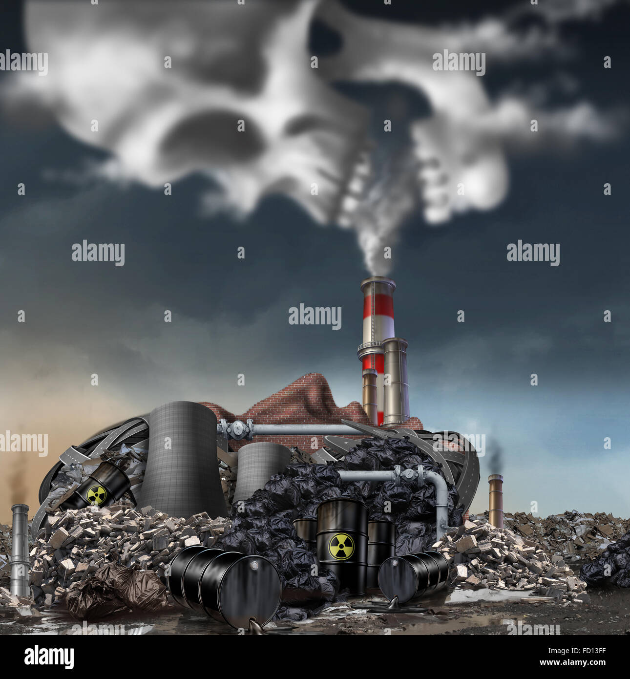Toxic smoke symbol as a dirty industrial factory with garbage smoke stacks and a nuclear power plant shaped as a - Stock Image