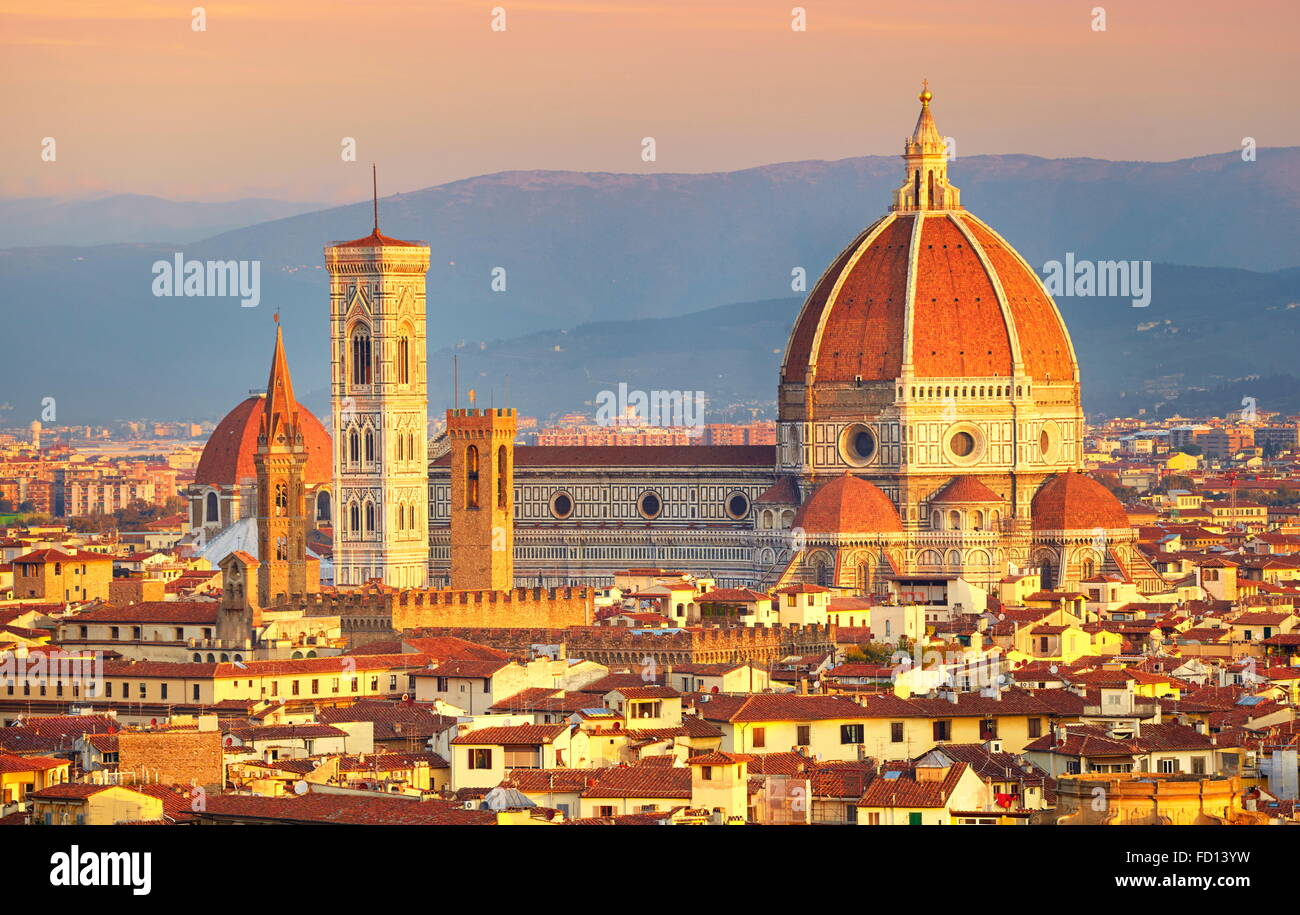 Duomo from the Piazza Michelangelo, Florence, Italy - Stock Image