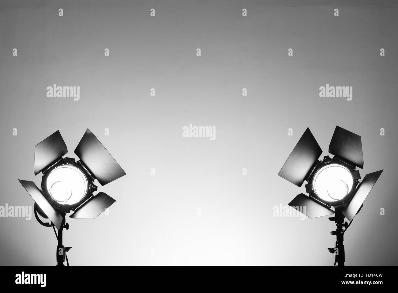 Empty photo studio with lighting equipment - Stock Image