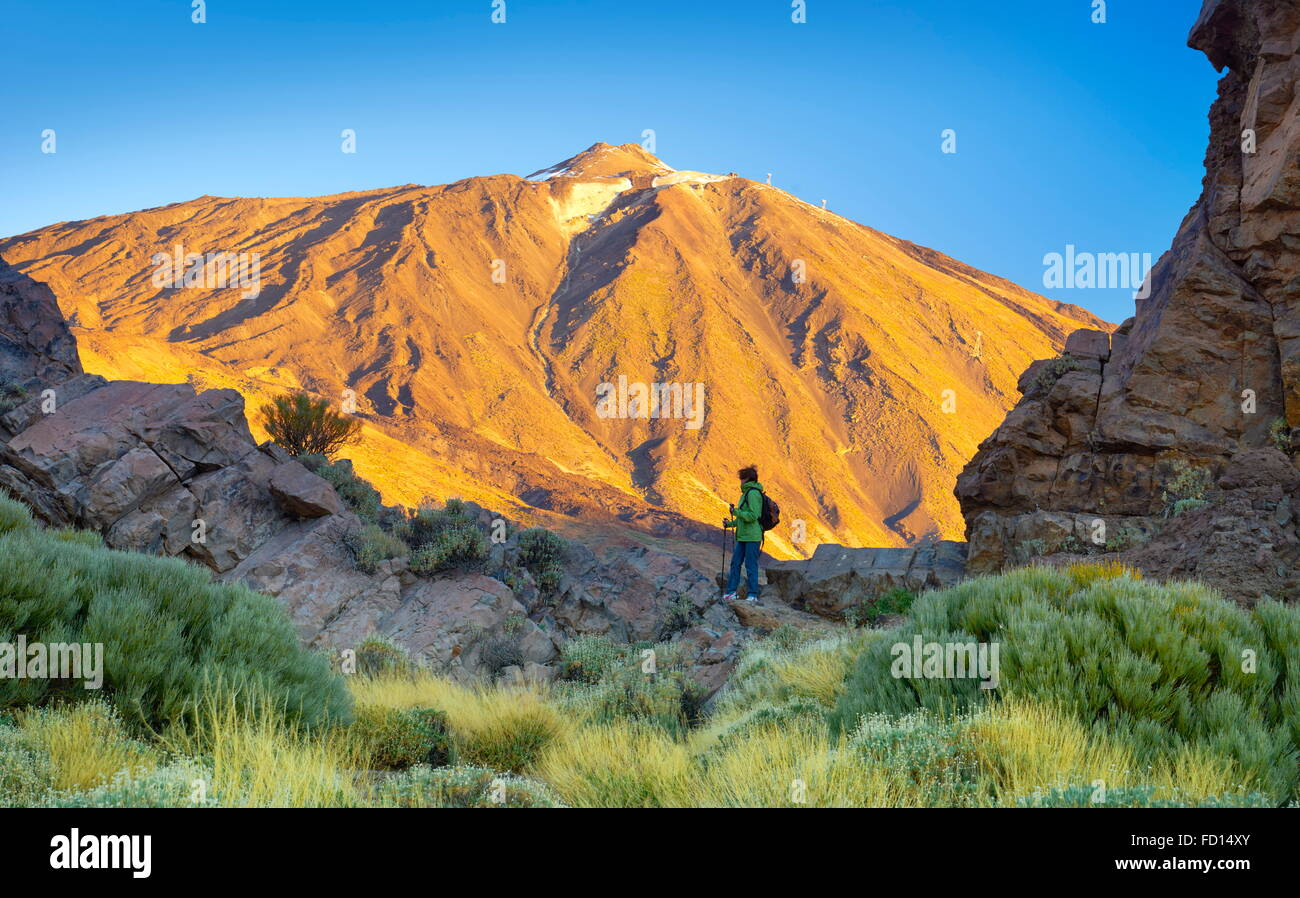 Tourist in Teide National Park, Tenerife, Canary Islands, Spain - Stock Image