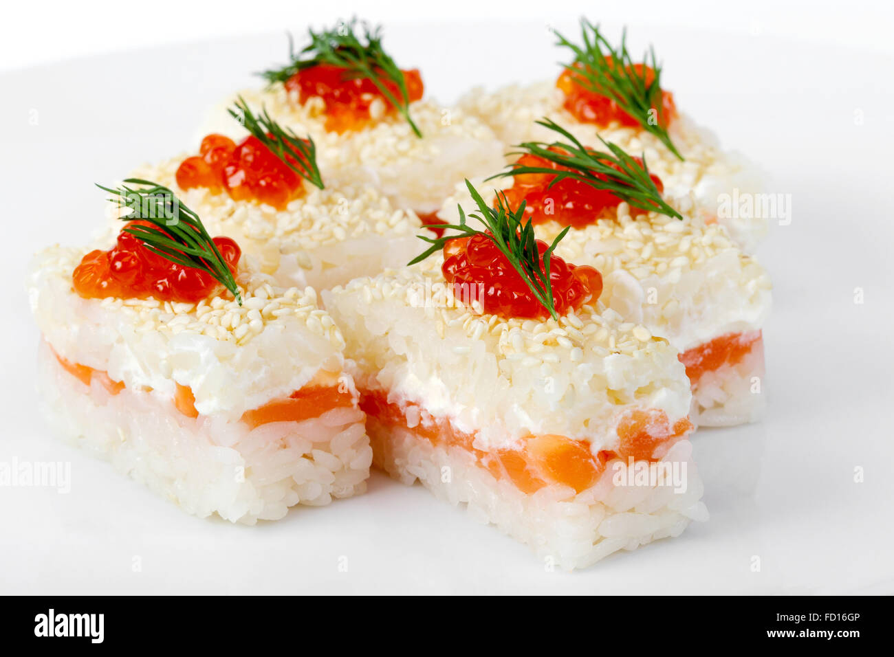 Maki Sushi with Salmon, red caviar. Selective focus - Stock Image
