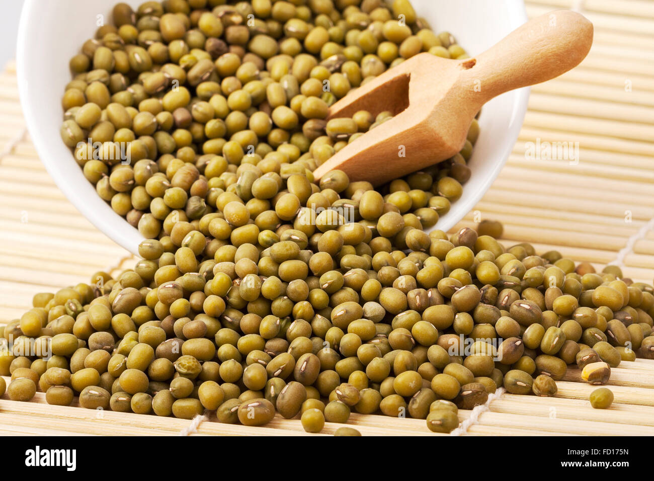 he mung or moong bean is the seed of Vigna radiata, native to the Indian subcontinent, and mainly cultivated in - Stock Image