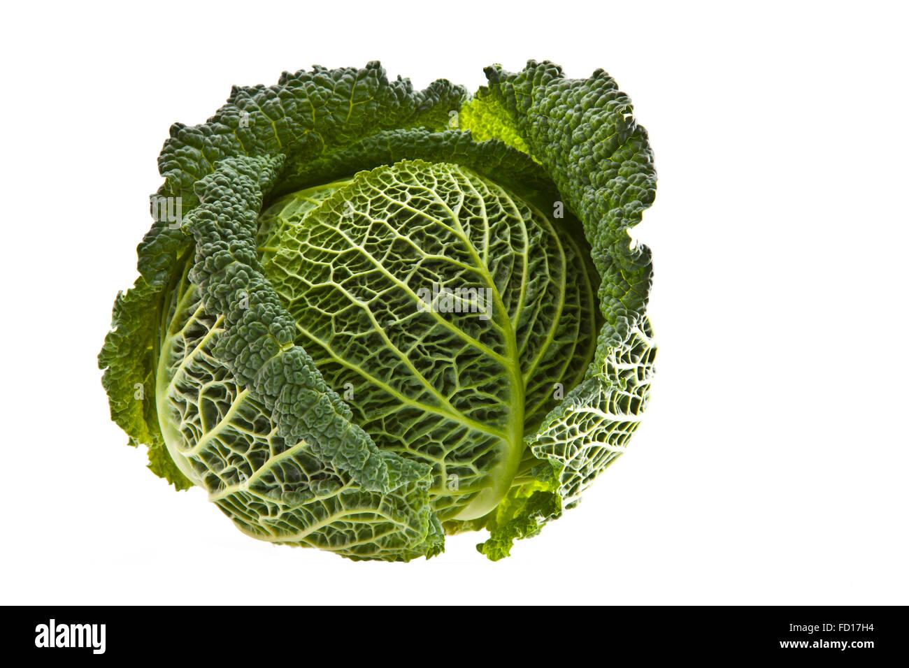 Fresh organic cabbage isolated on white Stock Photo
