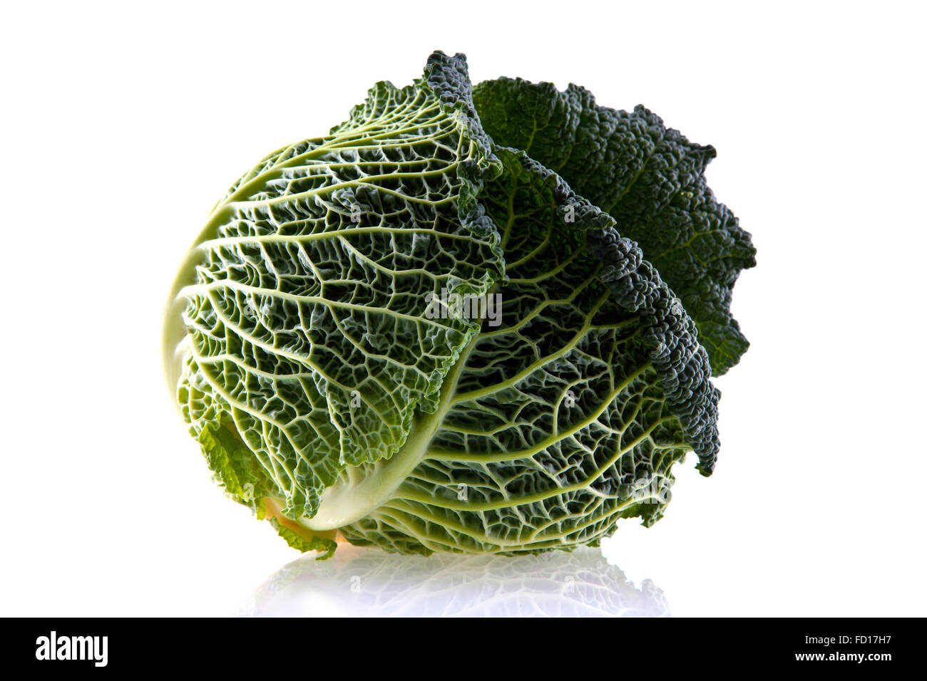 Fresh organic cabbage isolated on white - Stock Image