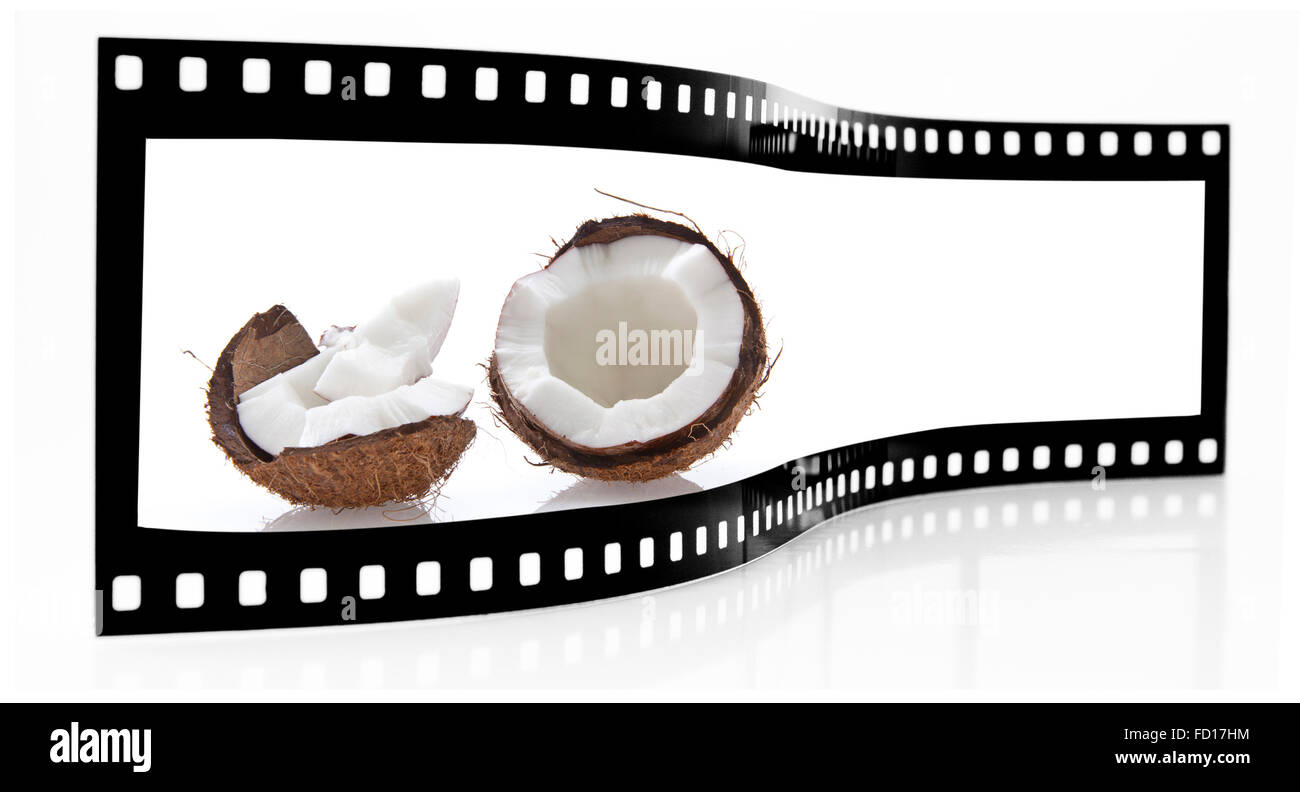 Coconut film strip Stock Photo