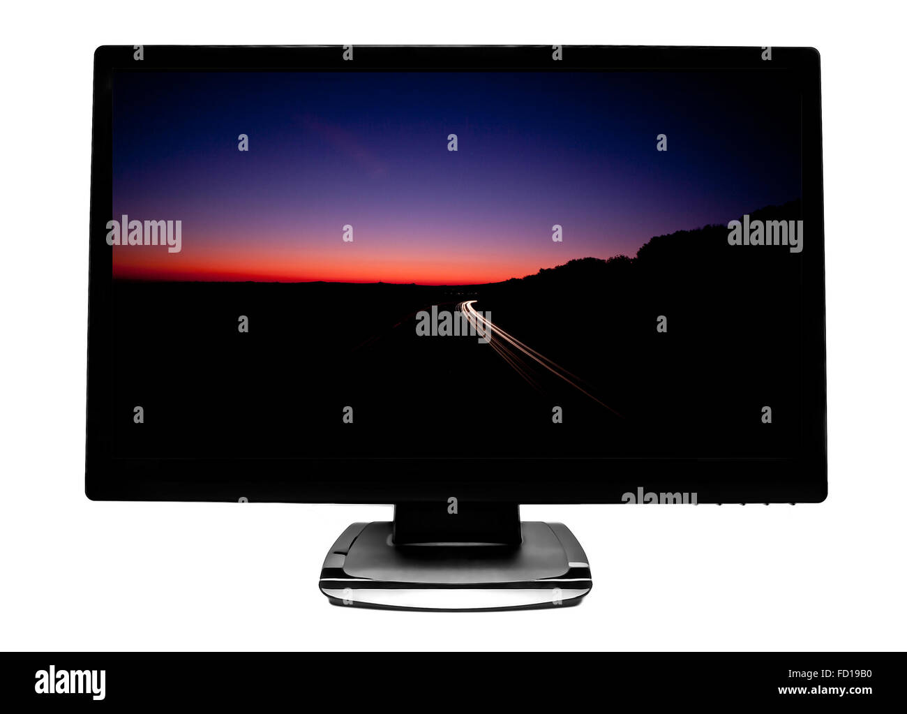 Flat screen TV with Motorway Light Trails - Stock Image