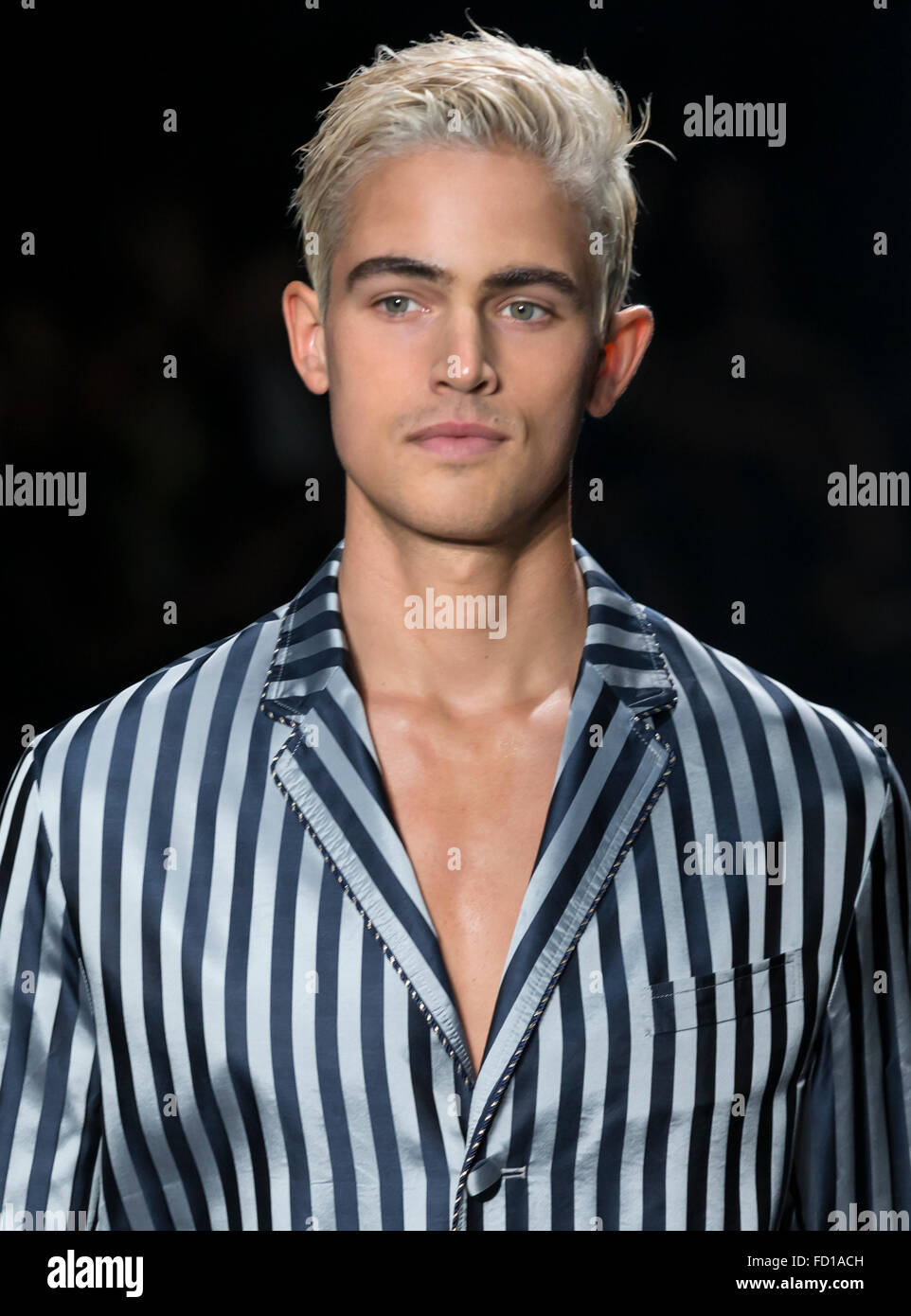NEW YORK, NY - JULY 14, 2015: Brett MacDonnell walks the runway during the Concept Korea show at NYFW Men's S/S - Stock Image