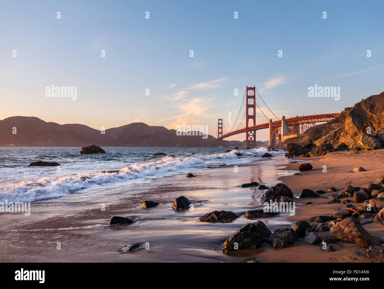 Golden Gate Bridge, Marshall's Beach, rocky coast, San Francisco, USA - Stock Image