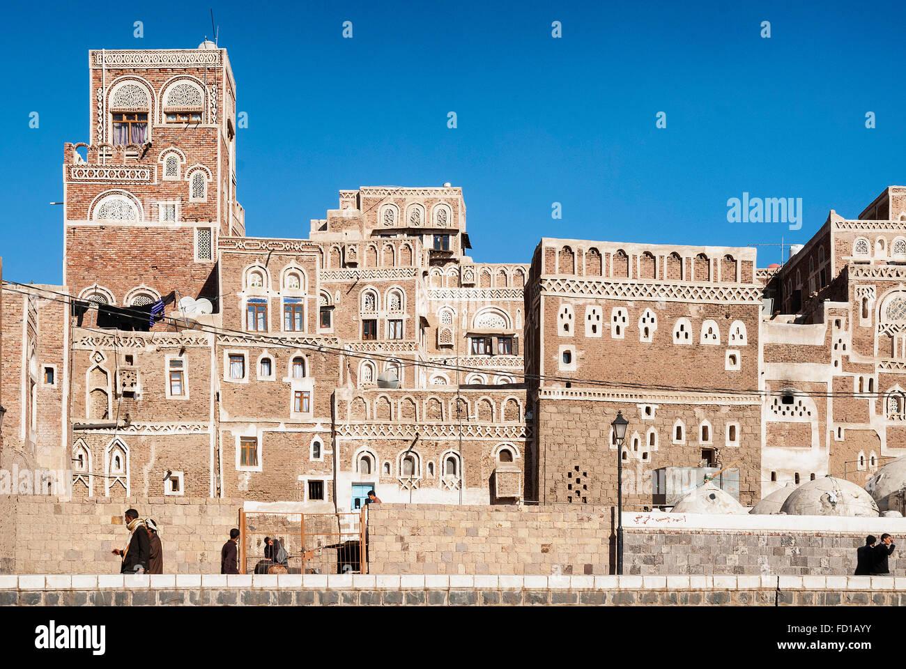 sanaa city old town in yemen - Stock Image