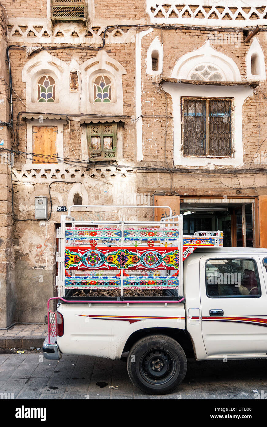 decorated pickup truck in sanaa city old town in yemen - Stock Image