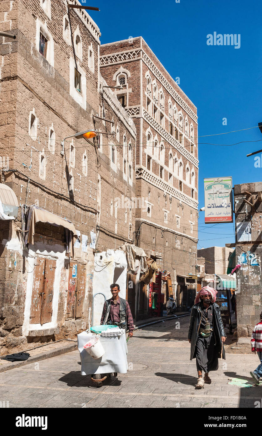 street of sanaa city old town in yemen - Stock Image
