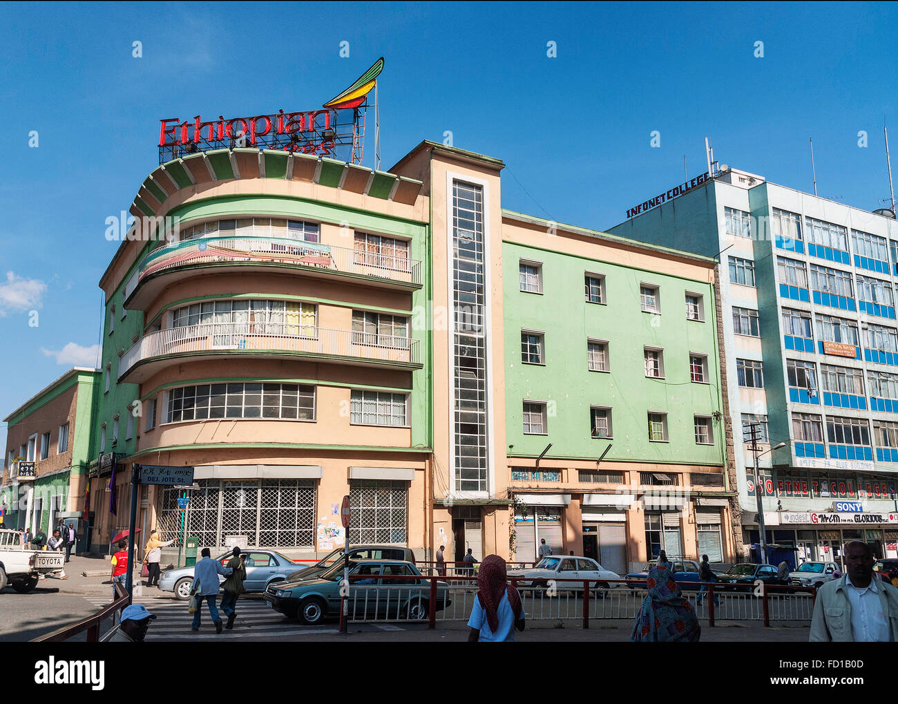 retro vintage buildings in street of central addis ababa ethiopia - Stock Image