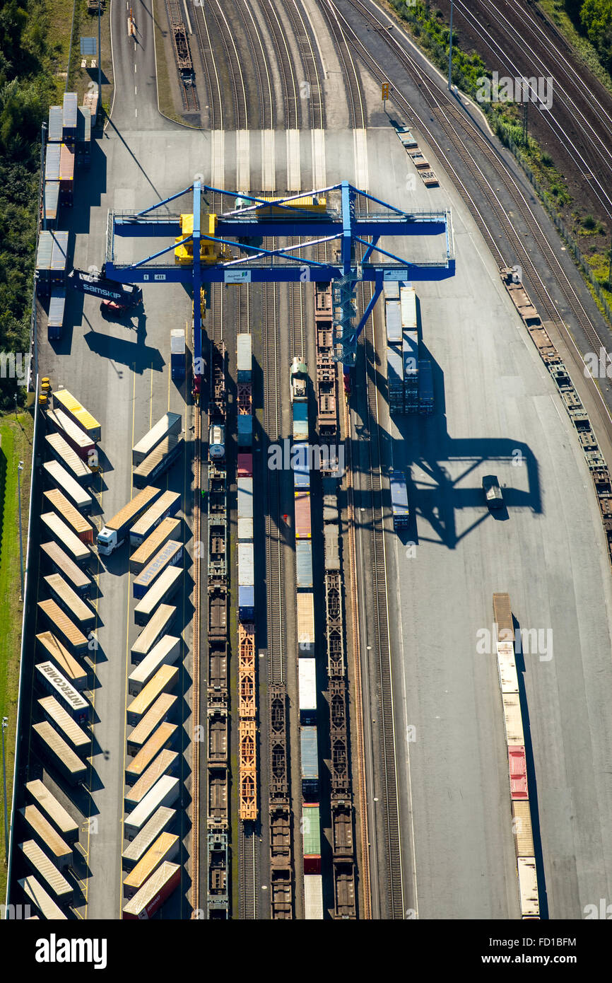 Logport III, logistics, Duisport, Budberg, Container Terminal, transfer station, Duisburg, Ruhr district, North - Stock Image