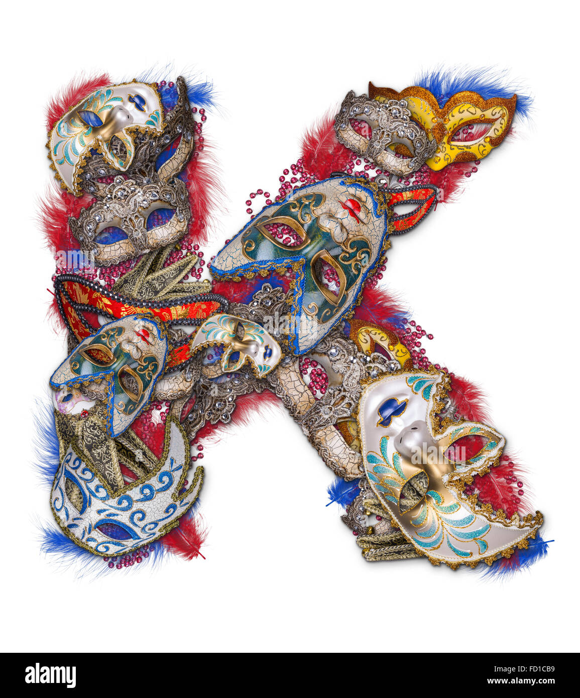 Letter K made of carnival mask and feather - Stock Image