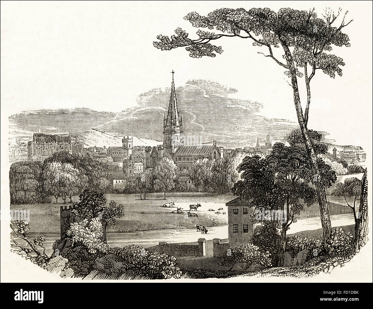 View over Norwich Cathedral which was started in 1096. Victorian woodcut engraving circa 1845. - Stock Image