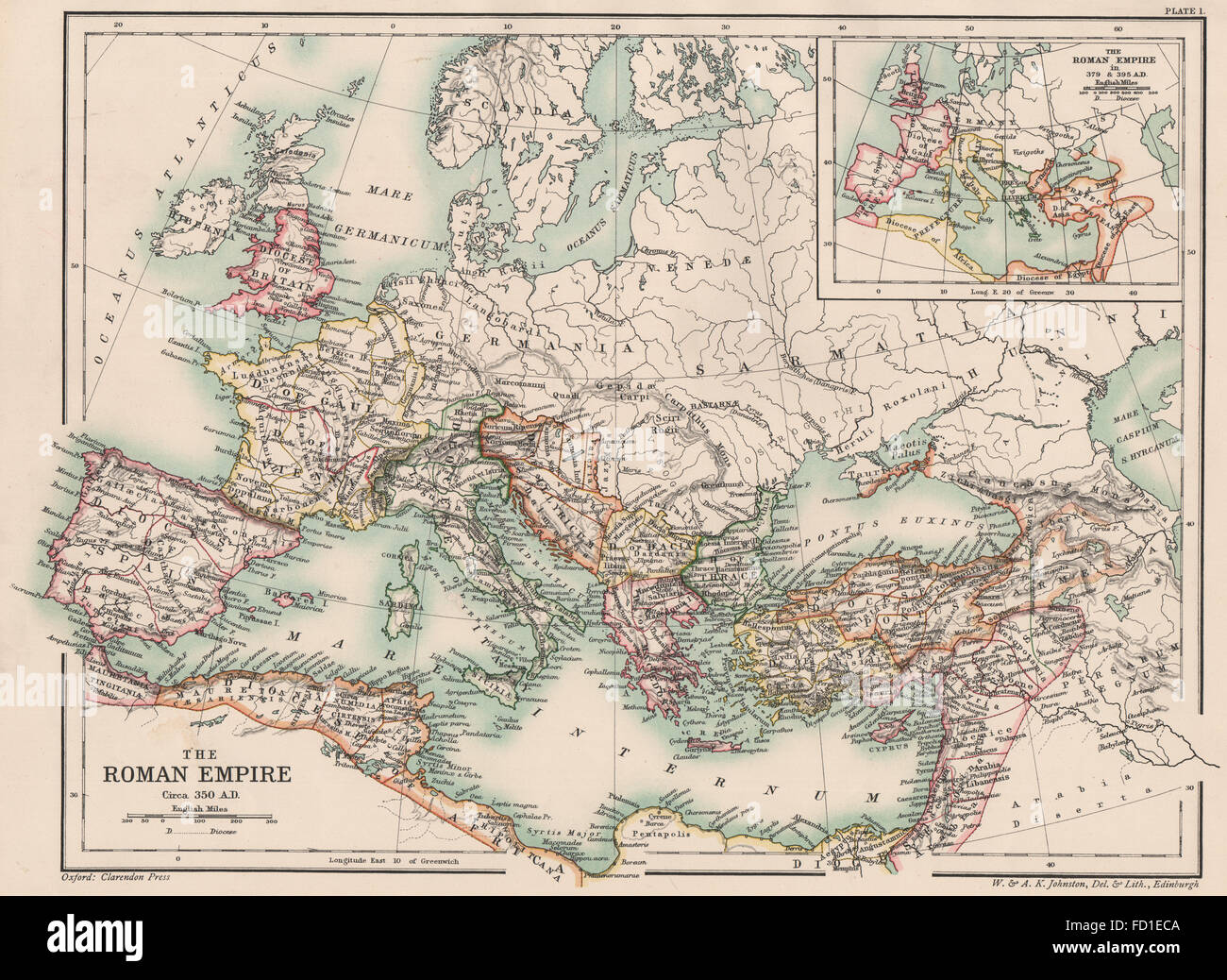 Late Roman Empire Map.Late Roman Empire 350 Ad Inset In 379 395 Ad 4th Century 1902