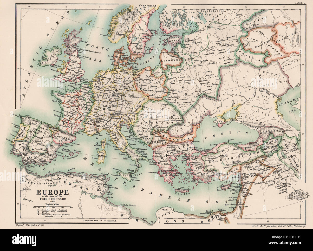 Historical map of the roman empire stock photos historical map of europeholy roman empire at the time of the third crusade 1190 1902 gumiabroncs Image collections