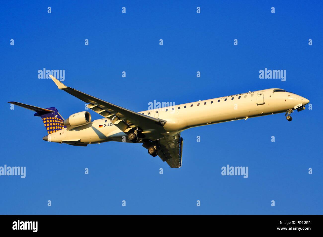 Eurowing Canadair CRJ-900 D-ACNU landing at Birmingham Airport, UK - Stock Image