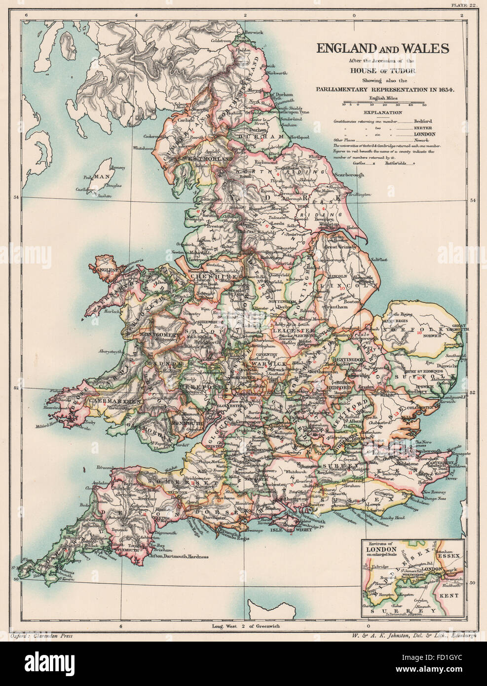 TUDOR BRITAIN: England Wales 1654. Parliamentary representation 1654, 1902  map
