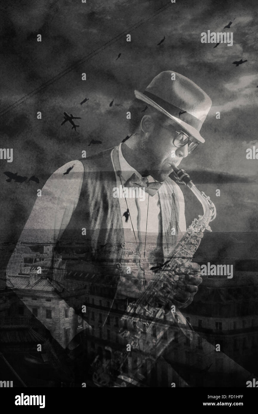 African-american jazzman playing saxophone and urban panorama with birds and plane in the sky - Stock Image
